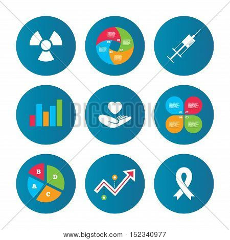 Business pie chart. Growth curve. Presentation buttons. Medicine icons. Syringe, life insurance, radiation and ribbon signs. Breast cancer awareness symbol. Hand holds heart. Data analysis. Vector