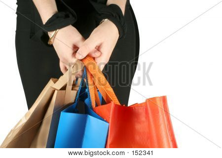 Business Girl With Shopping Bags