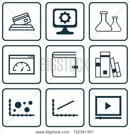 Set Of 9 Universal Editable Icons For Education, Advertising And Marketing Topics. Includes Icons Su