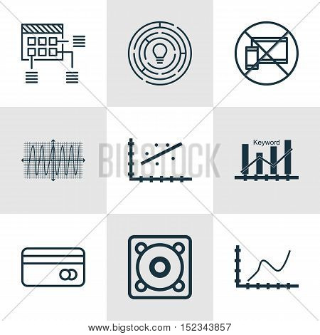 Set Of 9 Universal Editable Icons For Project Management, Airport And Seo Topics. Includes Icons Suc