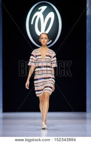 MOSCOW RUSSIA - OCTOBER 18 2016: Model walk runway for Valentin Yudaskin catwalk at Spring-summer 2017 Moscow Fashion Week.