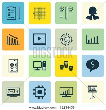 Set Of 16 Universal Editable Icons For Statistics, Marketing And Project Management Topics. Includes