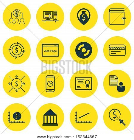 Set Of 16 Universal Editable Icons For Statistics, Advertising And Computer Hardware Topics. Include