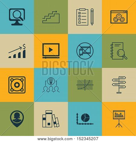 Set Of 16 Universal Editable Icons For Statistics, Marketing And Airport Topics. Includes Icons Such