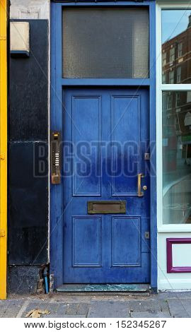 Frequently Used Faded Blue Door House Entrance
