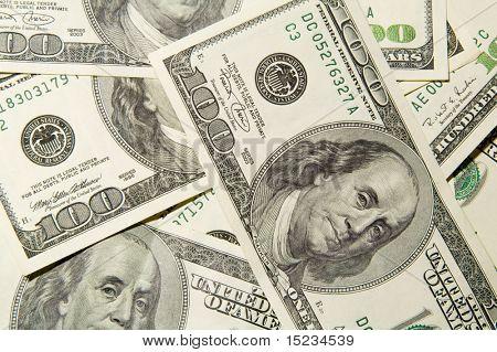 One hundred dollars, money, cash, heap