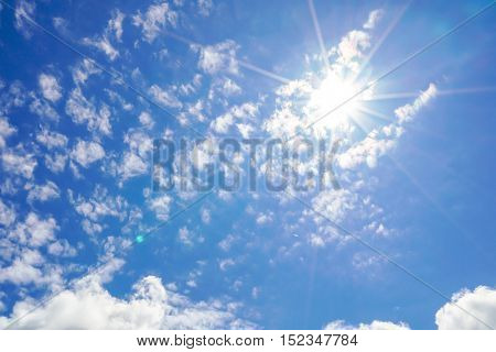 Cloud in blue sky with sunrays