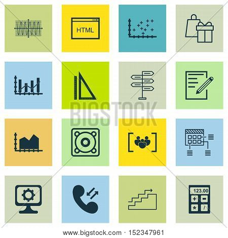 Set Of 16 Universal Editable Icons For Project Management, Airport And Statistics Topics. Includes I