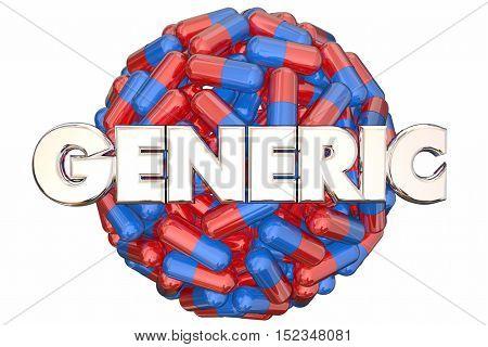 Generic No Name Brand Cheap Drugs Pills 3d Illustration