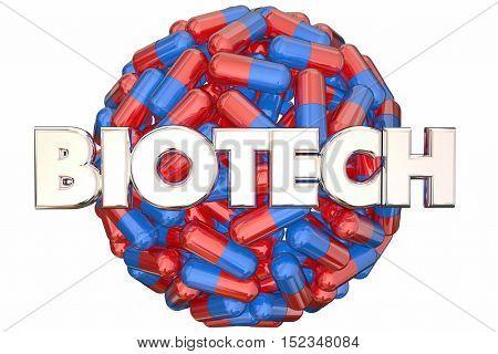 Biotech Meidcal Research Pills Medicine Cure 3d Illustration