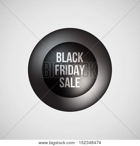 Black abstract premium bubble badge, realistic luxury button template with black friday sale text, reflex and light background for logo, design concepts, banners, posters, web. Vector illustration.