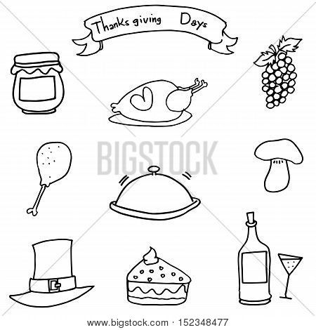 Doodle of Hand draw thanksgiving object vector art