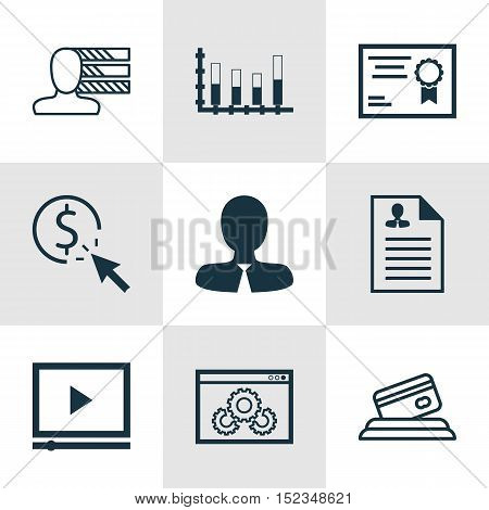 Set Of 9 Universal Editable Icons For Project Management, Seo And Human Resources Topics. Includes I