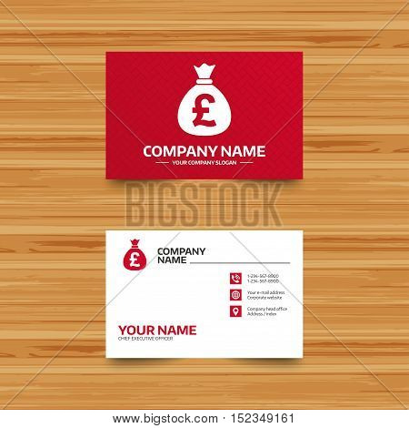 Business card template. Money bag sign icon. Pound GBP currency symbol. Phone, globe and pointer icons. Visiting card design. Vector