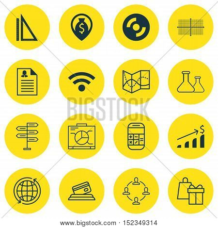 Set Of 16 Universal Editable Icons For Statistics, Human Resources And Computer Hardware Topics. Inc