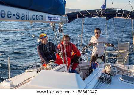 ATHENS, GREECE - SEP 24, 2016: Sailors participate in sailing regatta 16th Ellada Autumn 2016 among Greek island group in the Aegean Sea, in Cyclades and Saronic Gulf.
