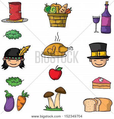 Thanksgiving set on doodle vector art illustration