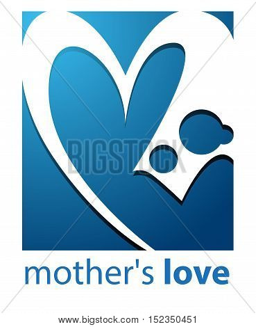 Vector abstract, shape mother love logo or symbol