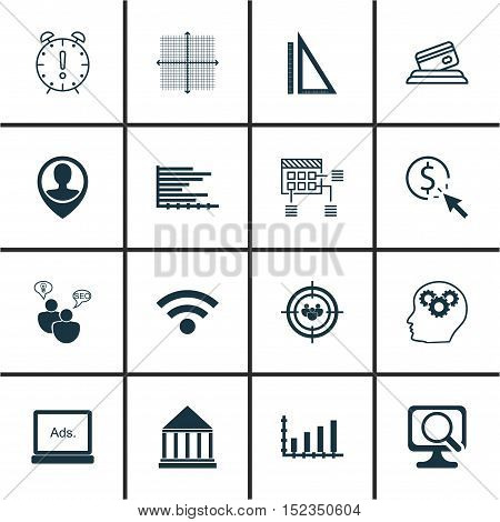 Set Of 16 Universal Editable Icons For Statistics, Seo And Computer Hardware Topics. Includes Icons
