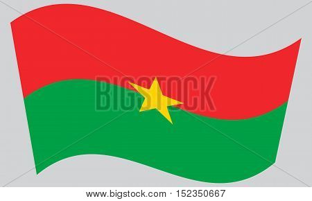 Burkina Faso national official flag. African patriotic symbol banner element background. Correct colors. Flag of Burkina Faso waving on gray background vector