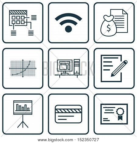 Set Of 9 Universal Editable Icons For Computer Hardware, Project Management And Travel Topics. Inclu
