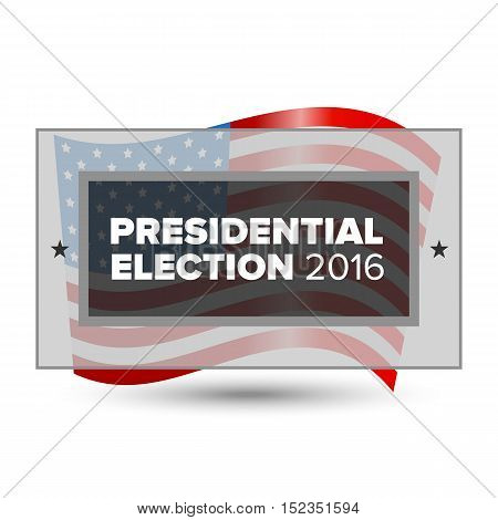 2016 USA presidential election poster with american flag