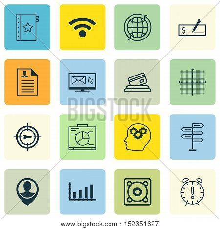 Set Of 16 Universal Editable Icons For Project Management, Marketing And Advertising Topics. Include