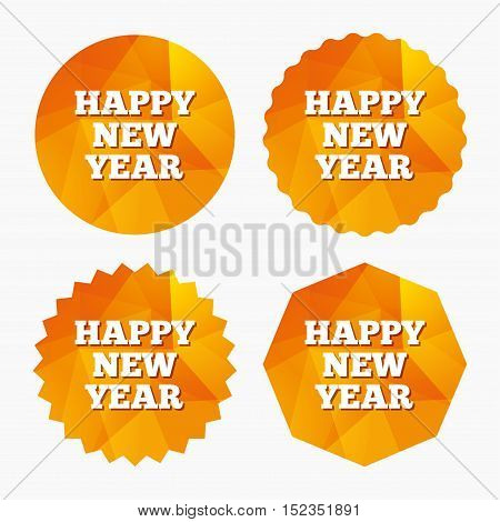 Happy new year text sign icon. Christmas symbol. Triangular low poly buttons with flat icon. Vector