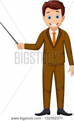 cute teacher cartoon holding a pointer for you design