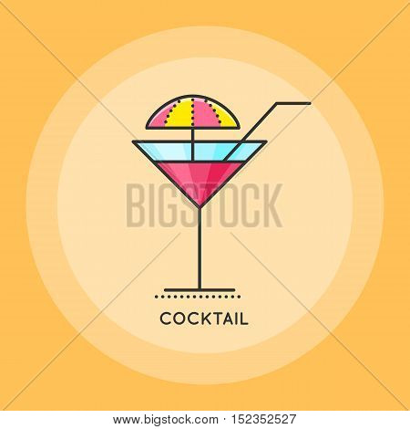 Cocktail with with straw and umbrella. Thin line vector illustration. Party and Celebration icon.