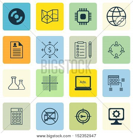 Set Of 16 Universal Editable Icons For Advertising, Project Management And Marketing Topics. Include