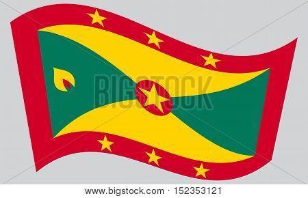 Grenadian national official flag. Patriotic symbol banner element background. Correct colors. Flag of Grenada waving on gray background vector