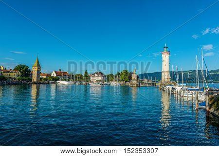 Lindau, Germany - Circa September, 2016: Iconic landmark lighthouse on the water of Bodensee Lake (Lake Constance) at Lindau, in the German state of Bavaria