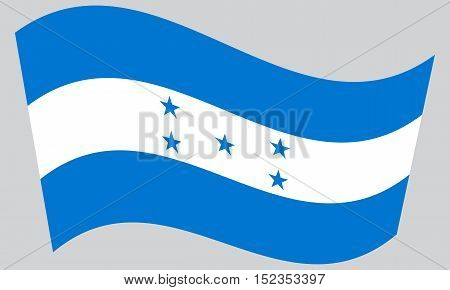 Honduran national official flag. Republic of Honduras patriotic symbol banner element background. Correct colors. Flag of Honduras waving on gray background vector