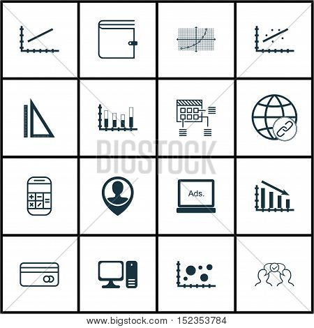 Set Of 16 Universal Editable Icons For Statistics, Human Resources And Business Management Topics. I