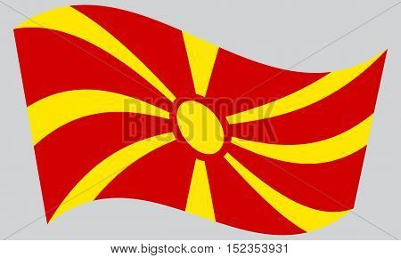Macedonian national official flag. Patriotic symbol banner element background. Correct colors. Flag of Macedonia waving on gray background vector
