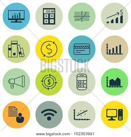 Set Of 16 Universal Editable Icons For Statistics, Travel And Computer Hardware Topics. Includes Ico