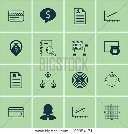 Set Of 16 Universal Editable Icons For Human Resources, Airport And Advertising Topics. Includes Ico