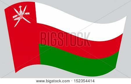 Omani national official flag. Patriotic symbol banner element background. Correct colors. Flag of Oman waving on gray background vector
