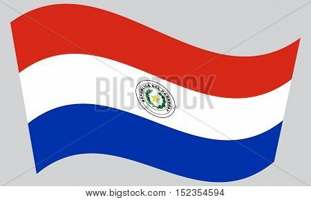 Paraguayan national official flag. Patriotic symbol banner element background. Correct colors. Flag of Paraguay waving on gray background vector