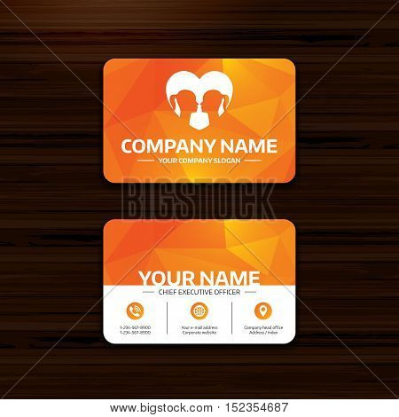 Business or visiting card template. Lesbian couple sign icon. Woman love woman. Romantic homosexual relationships with heart. Phone, globe and pointer icons. Vector