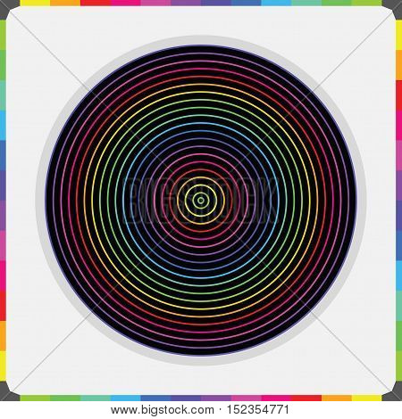 Abstract colorful parallel inner circles pattern  with color bricks border