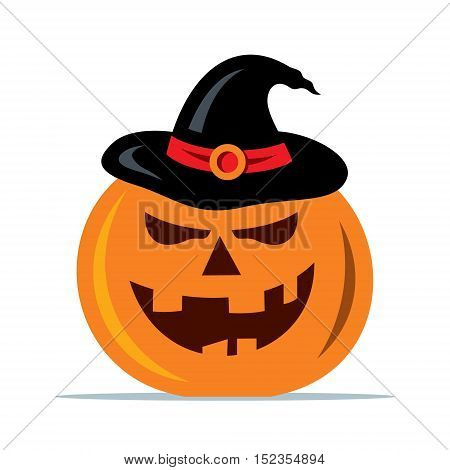 Creepy carved face with witch hat. Isolated on a White Background