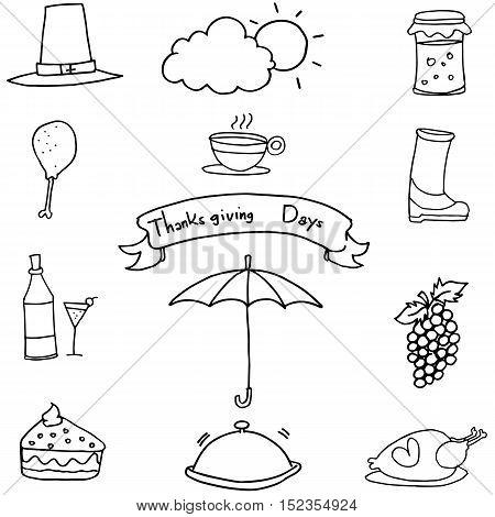 Doodle of thanksgiving food fruit set vector art