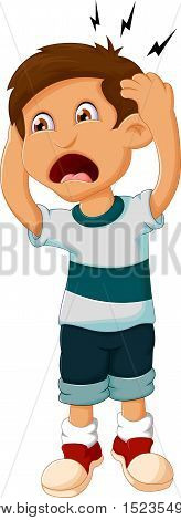 little boy cartoon headache for you design