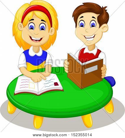 funny little girl and boy cartoon studying together