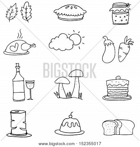 Thanksgiving set on doodles vector illustration collection