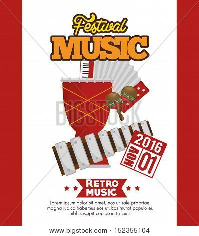 music festival set instruments vector illustration design