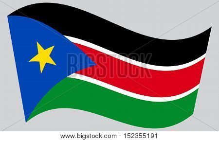 South Sudanese national official flag. African patriotic symbol banner element background. Correct colors. Flag of South Sudan waving on gray background vector