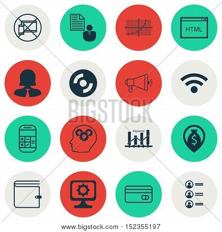Set Of 16 Universal Editable Icons For Advertising, Computer Hardware And Airport Topics. Includes I